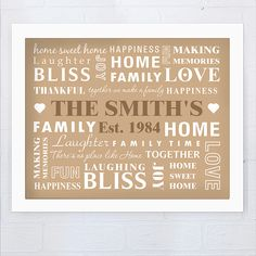 Typography Family Framed Print | Helena's House Gifts £16.99