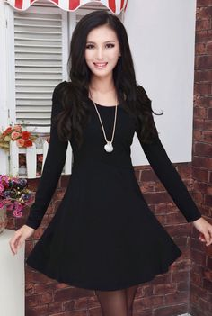 Fashion Elegant Long Sleeve Dress-Black