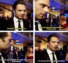 This is actually the actors, but I feel like this is something Bucky would say about Natasha...