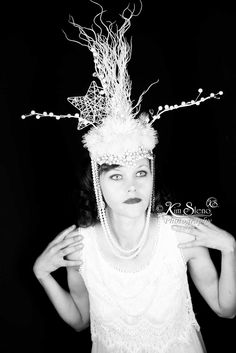 Ice Maiden meets Gatsby headpiece, head pice by Kim Sleno of Kim Sleno Photography
