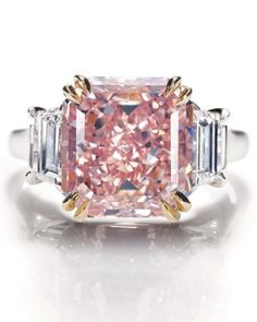 Extremely rare fancy intense pink diamond ring in platinum setting from Harry Wi. - Extremely rare fancy intense pink diamond ring in platinum setting from Harry Winston – Laurice W - Asscher Cut Diamond Engagement Ring, Pink Diamond Ring, Platinum Engagement Rings, Engagement Ring Cuts, Diamond Cuts, Pink Diamonds, Pink Ring, Diamond Jewelry, Gold Jewellery