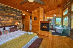 Look no further!  Enjoy a romantic vacation in this unique and modern cabin with indoor pool, sauna, outdoor fireplace, master suite with spa bath and modern kitchen