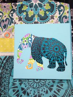 Elephant Canvas painted to match bed spread