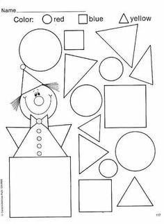Colors - Body Parts Shapes Worksheet Kindergarten, Shapes Worksheets, Kindergarten Worksheets, Educational Activities For Kids, Phonics Activities, Art Room Rules, Spelling For Kids, Preschool Decor, Welcome To School