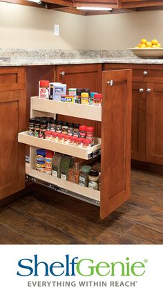 Pull out cabinet with shelves that pull out for spices next to the range - Make use of those tall narrow cabinet spaces with our custom width spice rack that features a middle pull out shelf for easier access Kitchen Cupboard Doors, Kitchen Pulls, Kitchen Drawers, Kitchen Shelves, Diy Kitchen, Kitchen Interior, Kitchen Design, Spice Rack Cabinet Pull Out, Spice Rack Kitchen Cabinet