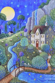 Naive, Thing 1, Cottage Art, Fantasy Landscape, Beautiful Artwork, House Painting, Cute Art, Fine Art America, Art Prints