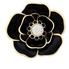 Liz Claiborne Black Gold-Tone Flower Pin ($14) ❤ liked on Polyvore featuring jewelry, brooches, goldtone jewelry, liz claiborne, liz claiborne jewelry, flower pin brooch and gold tone jewelry