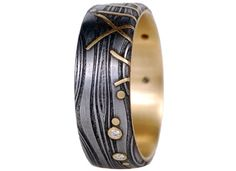 forged 8 hand forged ironsteel 75 80mm flat seaweed bunch matching wedding ringsiron - Damascus Wedding Ring