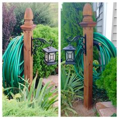 DIY Hose And Lantern Holder. 4x4x4 deck post, quikrete, deck post cap finial (screw it & glue it), plant holder for lantern.