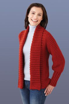Lion Brand® Vanna's Choice® Drapey Cardigan  #knit #pattern