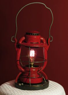 Railroad lantern lamp #vintage, #repurposed