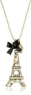 """Betsey Johnson """"Betsey Goes to Paris"""" Eiffel Tower Pendant Necklace"""