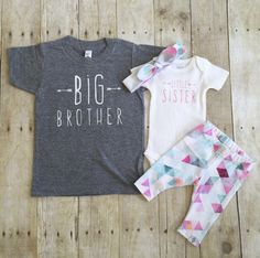 Big brother shirt and little sister set, sibling shirts, pregnancy announcement shirt by WillowBeeApparel on Etsy https://www.etsy.com/listing/277955380/big-brother-shirt-and-little-sister-set