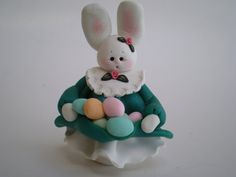 Polymer Clay Easter Bunny gathering Easter Eggs by HelensClayArt