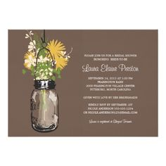 Shopping Bridal Shower Mason Jar and Wildflowers 5x7 Paper Invitation Card you will get best price offer lowest prices or diccount coupone