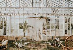 boho wedding ceremony, macrame wedding alter, tropical wedding, desert wedding, greenhouse wedding