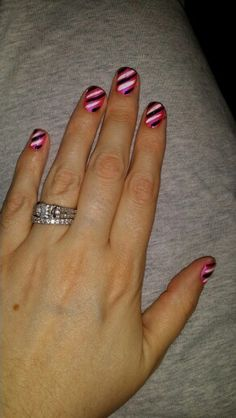 Pink with black and white diaganals