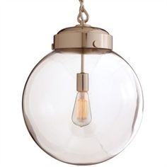 Reeves Large Polished Nickel/Glass Pendant