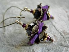 Opulent & luxurious, royal purple Lotus flower earrings by Elksong Jewelry Warm And Cool Colors, Lotus Jewelry, Victorian Flowers, Amethyst Crystal, Lotus Flower, Flower Earrings, Antique Gold, Red And Blue, Fans