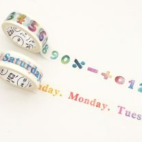 Washi+tapes+of+week+and+number+in+rainbow+colors  Great+for+planner+decoration    Quantity:+1+pc  Size:+15+mm(W)+x+7+m(L)