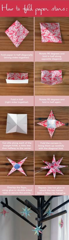 How to Fold Paper Stars, origami, paper xmas ornament Kids Crafts, Diy And Crafts, Craft Projects, Craft Ideas, Easy Crafts, Diy Ideas, Diy Paper, Paper Crafting, Gold Paper