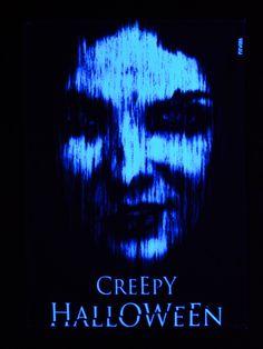 """PSYWORK Schwarzlicht Stoffposter Neon """"Creepy Halloween""""  #blacklight #schwarzlicht #halloween #party #deco #glowinthedark #fluo #psy"""