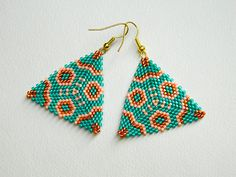 Summer jewelry turquoise color geometric earrings beaded earrings bead jewelry geometric jewelry seed bead earrings oriental earrings Summer jewelry turquoise color geometric earrings beaded earrings bead jewelry geometric jewelry see Brick Stitch Earrings, Seed Bead Earrings, Beaded Earrings, Turquoise Color, Turquoise Jewelry, Triangle Pattern, Beaded Jewelry Patterns, Geometric Jewelry, Bead Earrings