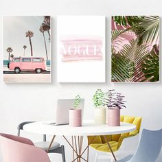 Fashion Pink Palm Tree Canvas Painting Wall Pictures Vogue Pink Van Vintage Posters and Prints Living Room Home Wall Art Decor Dining Room Wall Art, Kitchen Wall Art, Living Room Art, Home Wall Art, Wall Art Decor, Room Decor, Tree Canvas, Wall Canvas, Canvas Art
