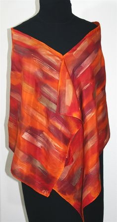 Flamenco Rhythm Hand Painted Silk Scarf in Red, Orange and Burgundy