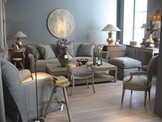 oak floor, linen sofas