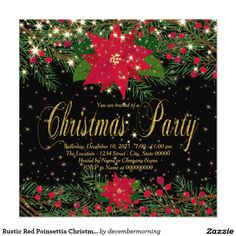 C0004 Vintage Christmas Party invitation Holiday Open House invitation Old Time Christmas invitation Country Christmas invitation