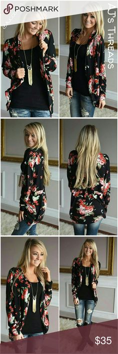 •Boutique• Floral Print Cardigan •Boutique Item• Cute open front floral print cardigan. Perfect to complete any look, light and silky soft material perfect for spring, summer and fall. Material: Polyester Color: Black  Bundle and save 10% Free gift with purchase over $20 Sweaters Cardigans
