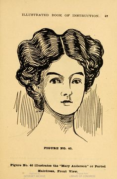 """The """"Mary Anderson"""" coiffure. 1906 Robinson System of Barber Colleges, Seattle, WA"""