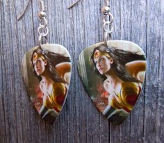 Wonder Woman Guitar Pick Earrings with Gold Crystals by ItsYourPickToo on Etsy