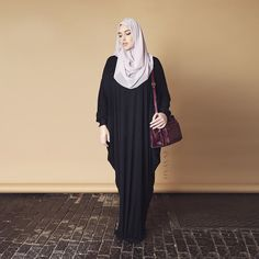 INAYAH | Black Urbane #Abaya + Dusty Pink Georgette #Hijab  www.inayahcollection.com