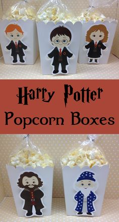 Adorable boxes can be used for popcorn, candy or other party favors for a very special birthday celebration! #ad #harrypotter #harrypotterfan #potterparty #favors #popcornboxes #etsy