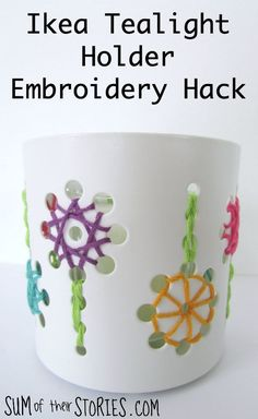 Ikea tealight holder embroidery hack Spirograph, Jewel Colors, Wooden Coasters, Running Stitch, Scented Wax, Summer Crafts, Tea Light Holder, Embroidery Thread