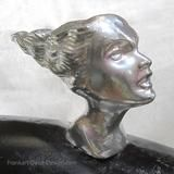 A Lalique-style woman's head with flowing hair, in polished, lacquered aluminum. This ornament has a bolt and nut to securely hold it on to your hood or motorcycle fender. Art Deco Decor, Art Deco Design, Streamline Art, Car Ornaments, Car Badges, Thing 1, Nymph, Art Nouveau, Sculpture