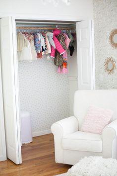 Home // Kids' Closet Makeovers & Tips for Installing Removable Wallpaper - Lauren McBride Closet Wallpaper, Diy Wallpaper, Kid Closet, Closet Tour, Upstairs Bathrooms, Home Decor Inspiration, Decor Ideas, Decorating Ideas, Finding A House