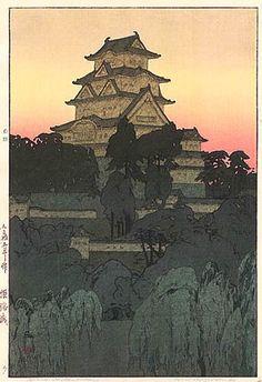 Himeji Castle, Evening  by Hiroshi Yoshida, 1926