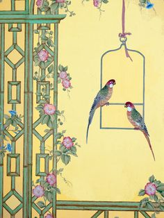 Paul Montgomery Studio - Salon Gallery Oriental Wallpaper, Background Tile, Japan Painting, Arabesque, Art Folder, Bird Artwork, Chinoiserie Chic, China, Botanical Flowers