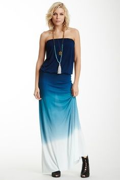 HauteLook | Young, Fabulous & Broke: Sydney Strapless Ombre Maxi Dress