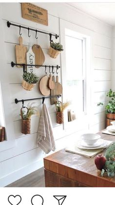 I like the bars for hanging things like utensils, chopping boards, mugs, fry pan. Farmhouse Kitchen Decor, Kitchen Redo, Kitchen Interior, New Kitchen, Kitchen Remodel, Kitchen Ideas, Küchen Design, House Design, Updated Kitchen