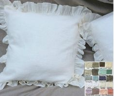 The listing is for ONE ruffle pillow cover with 3 ruffles  Give your linen bedding an elegant classic look with this handmade ruffled linen pillow covers. The ruffled luxury pillow combines the beauty of natural hued linen and classic touching with a hint of shimmer. Easily machine washable and soft to touch. Envelope closure for easy tuck in or to remove for cleaning. See 40 + color choices and patterns: https://www.etsy.com/listing/236263008/linen-fabric-swatch-lin...
