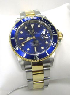 1f6d595ad18 ROLEX Men s Steel   18K Gold Submariner 16613 - Blue Dial   Bezel - 7