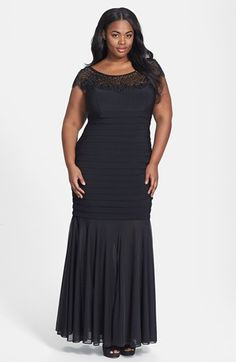 Xscape Beaded Yoke Chiffon Gown (Plus Size) available at #Nordstrom