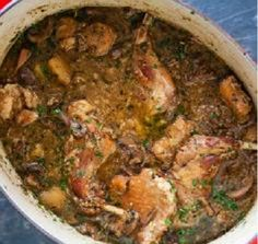 Medieval Rabbit (or Chicken) Stew with Herbs and Barley (Libro della cocina bolognese)