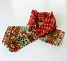 Vintage Womens Silk Scarf Long Red Olive Green by retrogroovie, $9.99