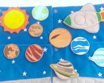 Felt planets - space activity busy book quiet book 4 pages with 9 planets and a space ship #65