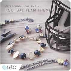 Gita Jewelry School. DIY jewelry with symbols of your favorite football team #handmade_jewelry #football #Swarovski